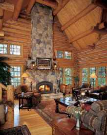 60 Stunning Log Cabin Homes Fireplace Design Ideas (5)