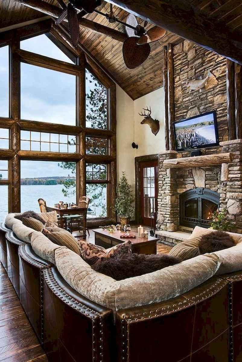 60 Stunning Log Cabin Homes Fireplace Design Ideas (53)