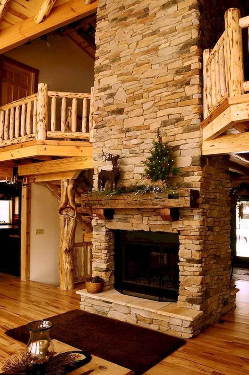 60 Stunning Log Cabin Homes Fireplace Design Ideas (56)