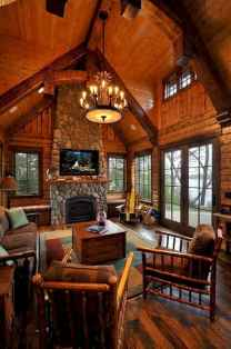 60 Stunning Log Cabin Homes Fireplace Design Ideas (59)