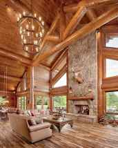 60 Stunning Log Cabin Homes Fireplace Design Ideas (62)