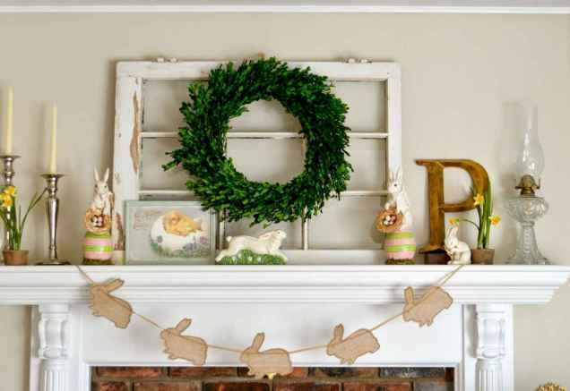 35 Best Easter Fireplace Mantle Decor Ideas (35)