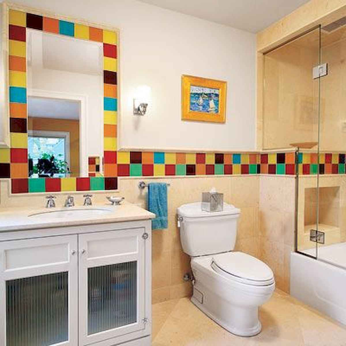 70+ Cool Colorful Bathroom Decor Ideas And Remodel for Summer Project (33)