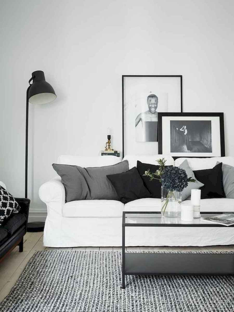 70 Stunning Grey White Black Living Room Decor Ideas And Remodel (62)