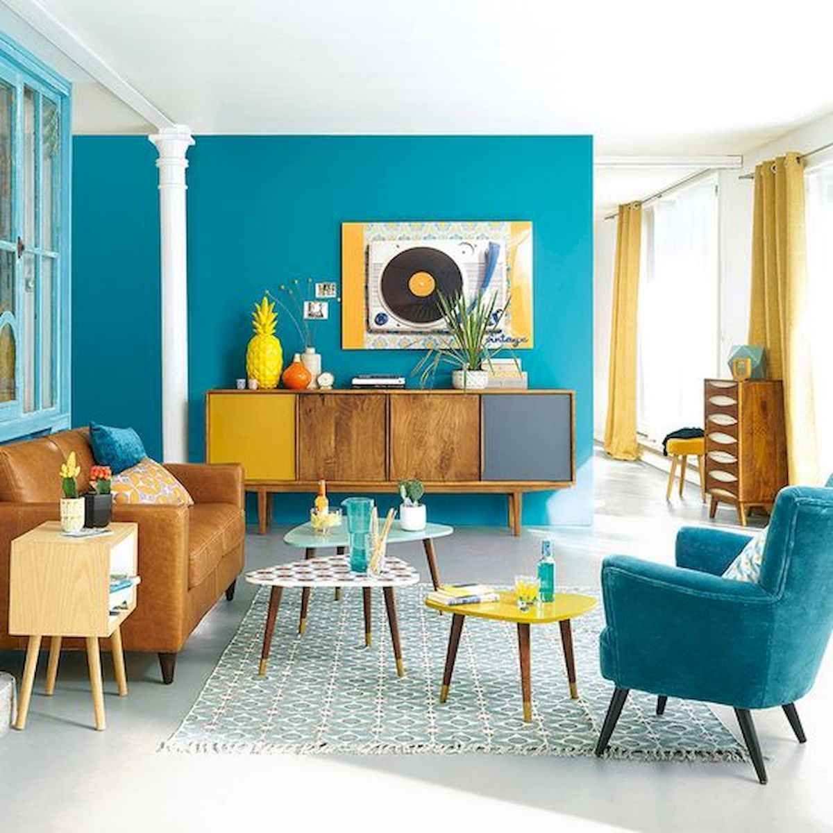 80+ Stunning Colorful Living Room Decor Ideas And Remodel for Summer Project (67)