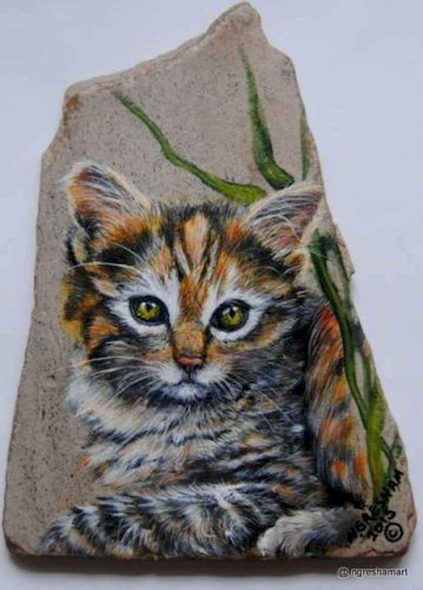 50 Inspiring DIY Painted Rocks Animals Cats for Summer Ideas (10)