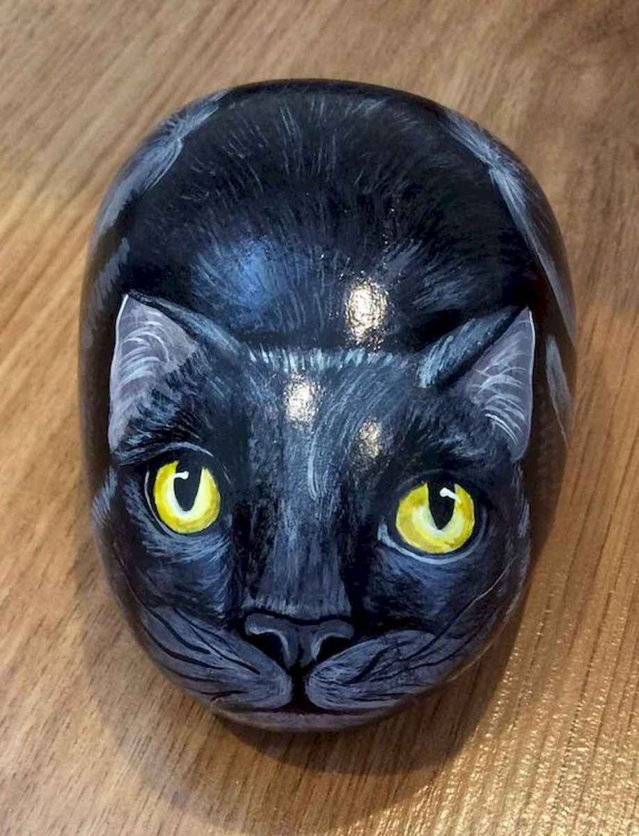 50 Inspiring DIY Painted Rocks Animals Cats for Summer Ideas (13)