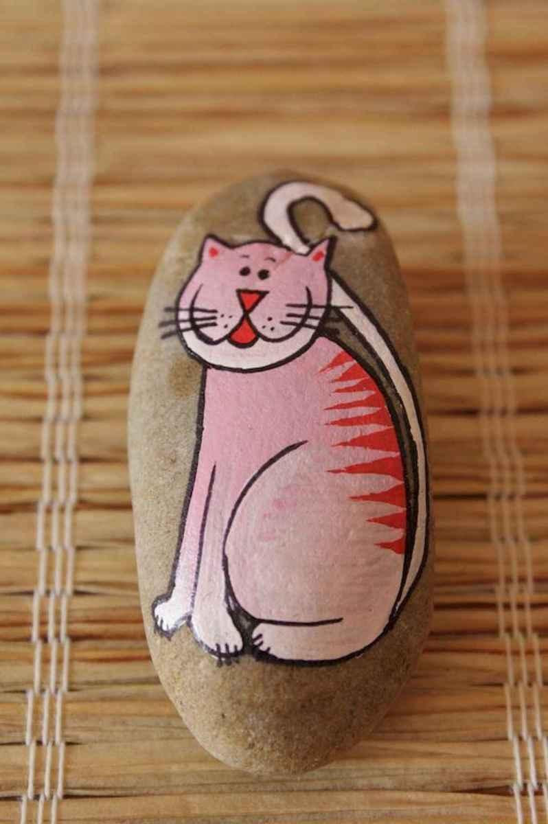 50 Inspiring DIY Painted Rocks Animals Cats for Summer Ideas (14)