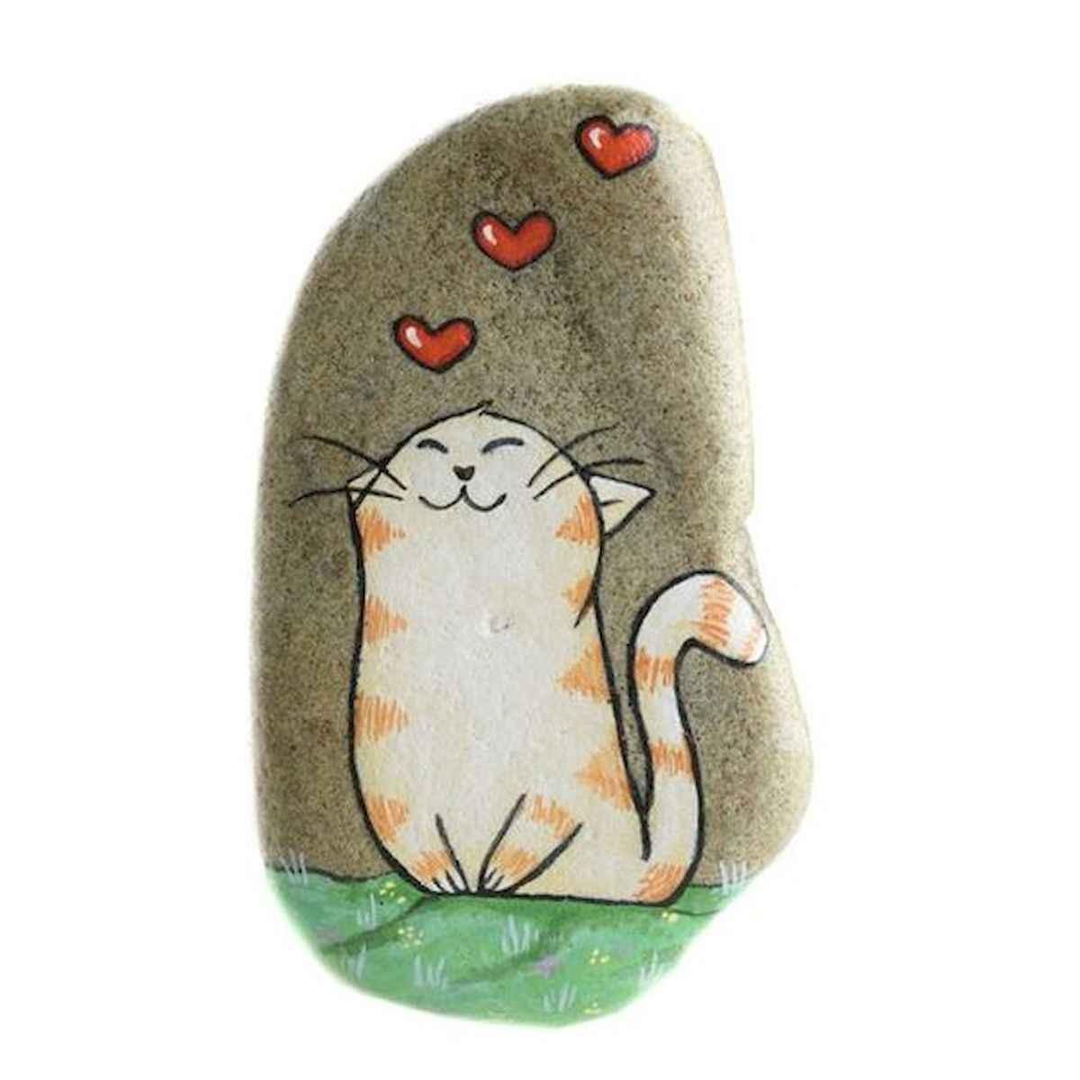 50 Inspiring DIY Painted Rocks Animals Cats for Summer Ideas (25)