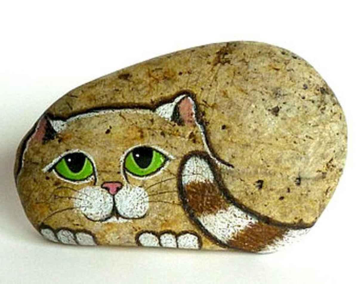 50 Inspiring DIY Painted Rocks Animals Cats for Summer Ideas (31)