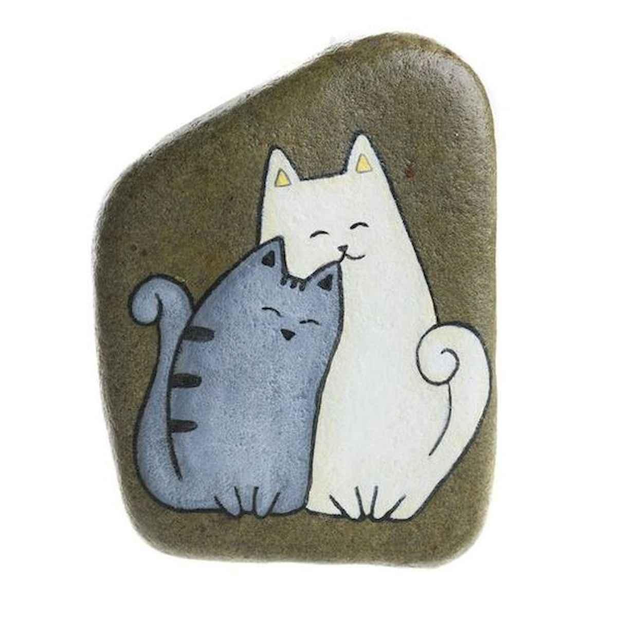 50 Inspiring DIY Painted Rocks Animals Cats for Summer Ideas (45)