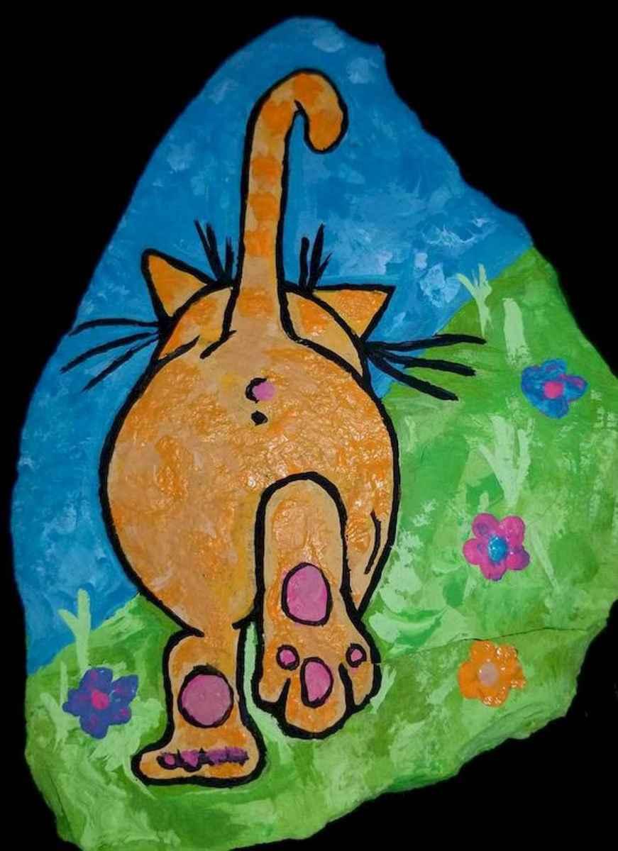 50 Inspiring DIY Painted Rocks Animals Cats for Summer Ideas (7)