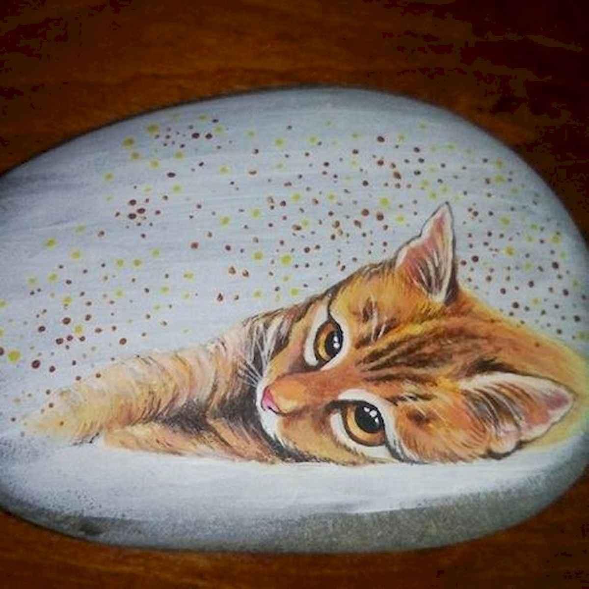 50 Inspiring DIY Painted Rocks Animals Cats for Summer Ideas (9)