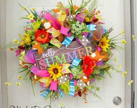 60 Beautiful Front Door Summer Wreath Decor Ideas (14)