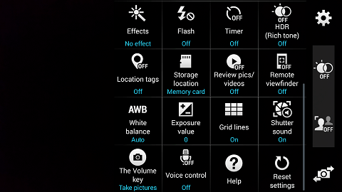 Camera Menu on the Samsung Galaxy s5