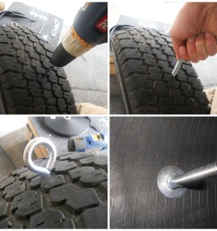 now measure the diameter of the hole in your tire where the rim was add 2 3 inches to it depending on how large the tire is and cut the weld wire  [ 1200 x 1140 Pixel ]