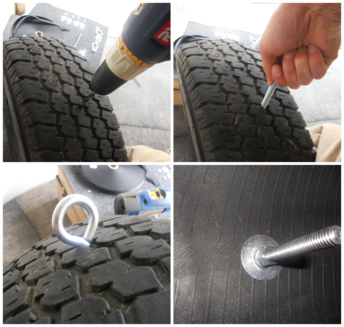hight resolution of now measure the diameter of the hole in your tire where the rim was add 2 3 inches to it depending on how large the tire is and cut the weld wire
