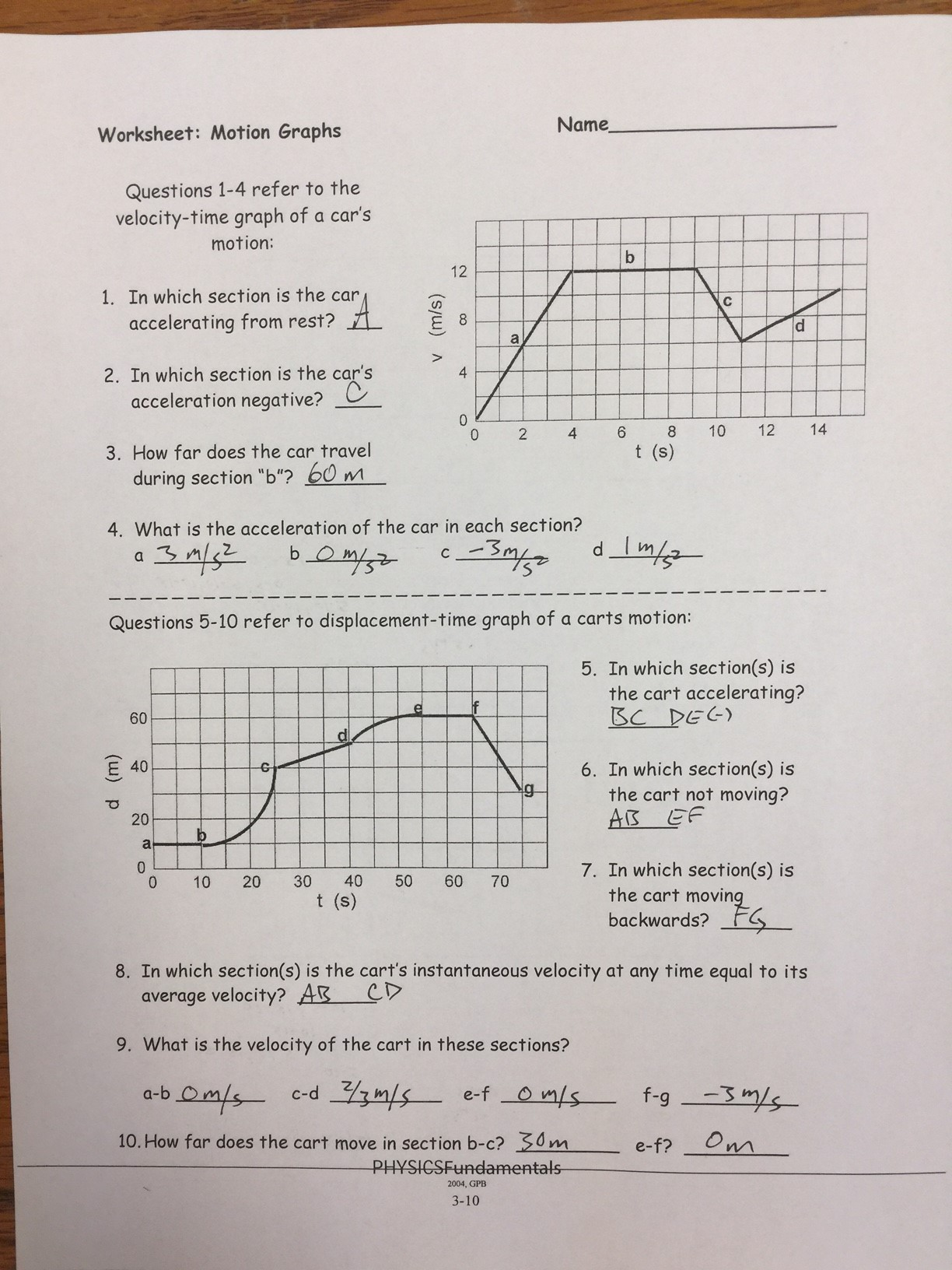 Physics Unit 2a Linear Motion Answer Keys