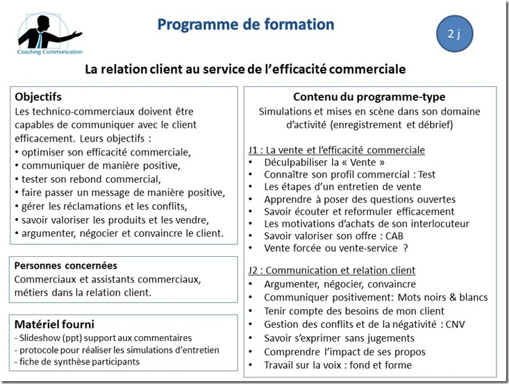 Programme de formation Relation client
