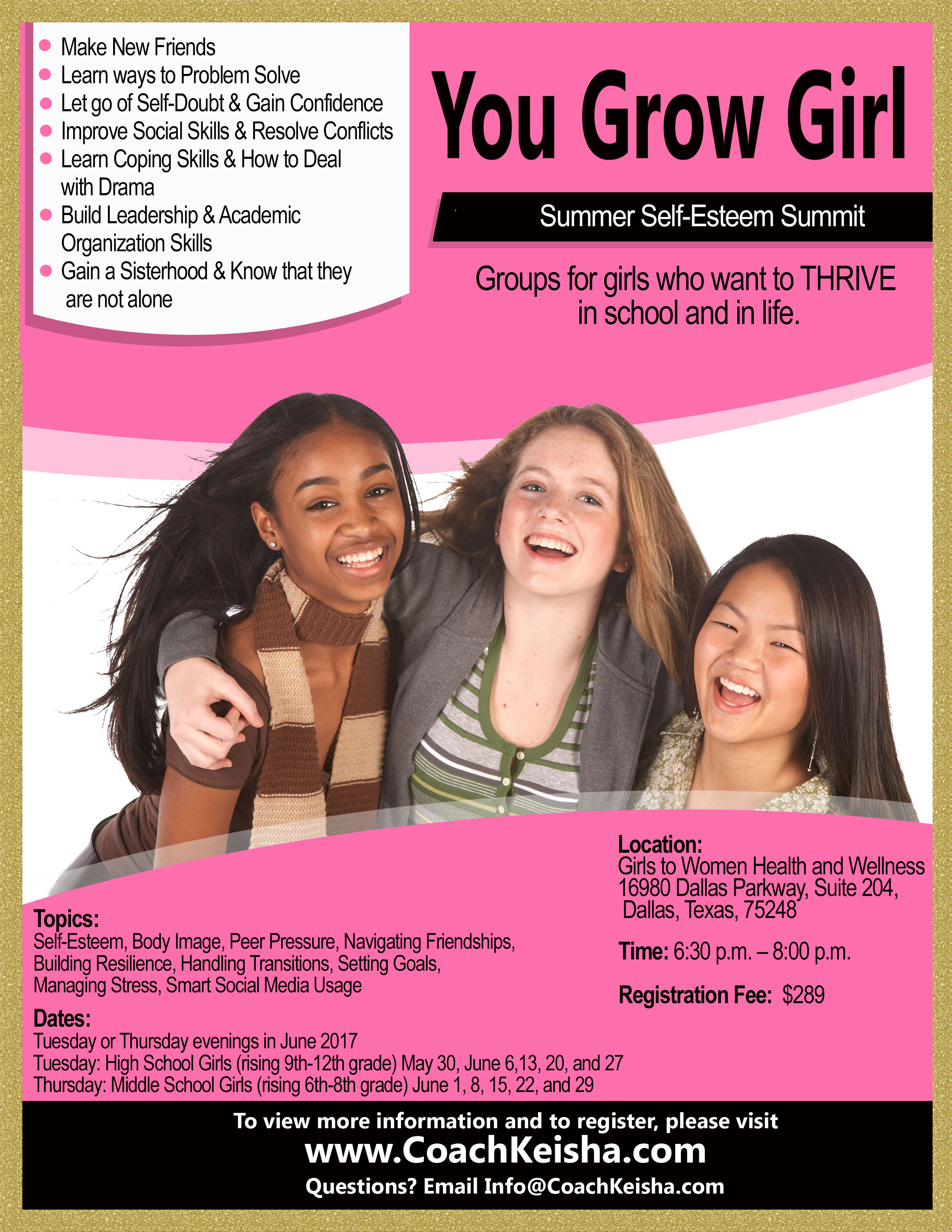 Summer Self Esteem Program For Girls In Dallas