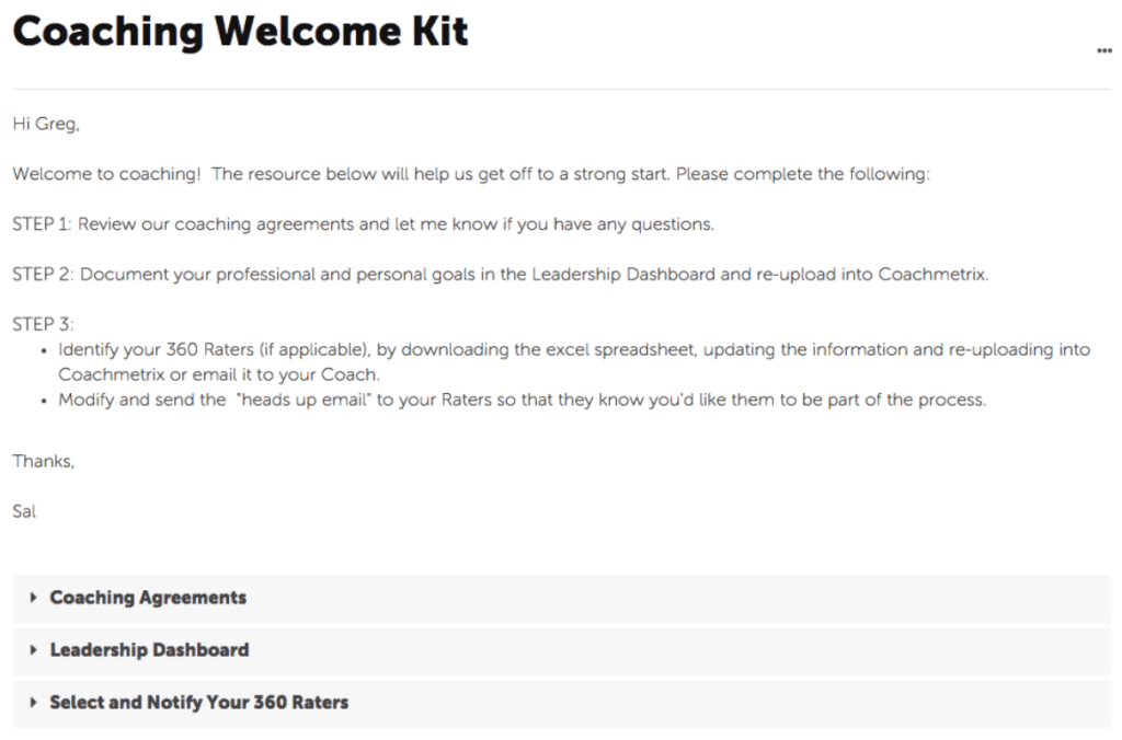 Coaching Welcome Kit