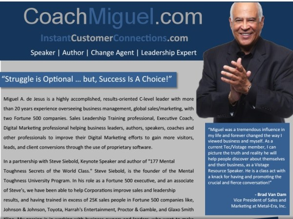 Speaker One sheet Coach Miguel De Jesus