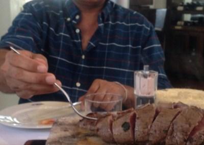 Hayden Nasir of Evolution Salt enjoying steak in Monterrey, Mexico