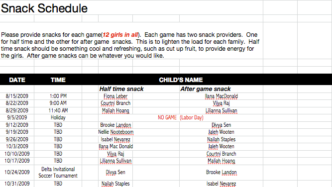 game day snack schedule