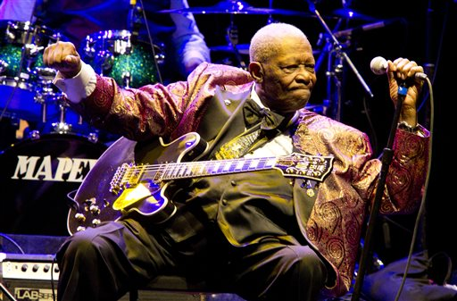 FILE - In this Nov. 11, 2011, file photo, B.B. King performs at Club Nokia in Los Angeles. A funeral director says he's prepared for lines around the block for a public viewing of blues legend King in Las Vegas. King died May 14, 2015, at age 89, and the open-casket event from 3 to 7 p.m. Friday, May 22, at Palm South Jones Mortuary begins a week-long series of memorials. (Photo by Paul A. Hebert/Invision/AP, File)