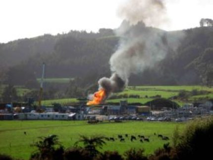 """Flaring at Mangahewa D, Todd Energy Gas plant, Taranaki"" photo by Fiona Clark"