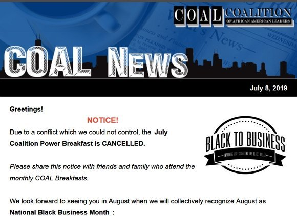 Important! July Breakfast Cancelled!