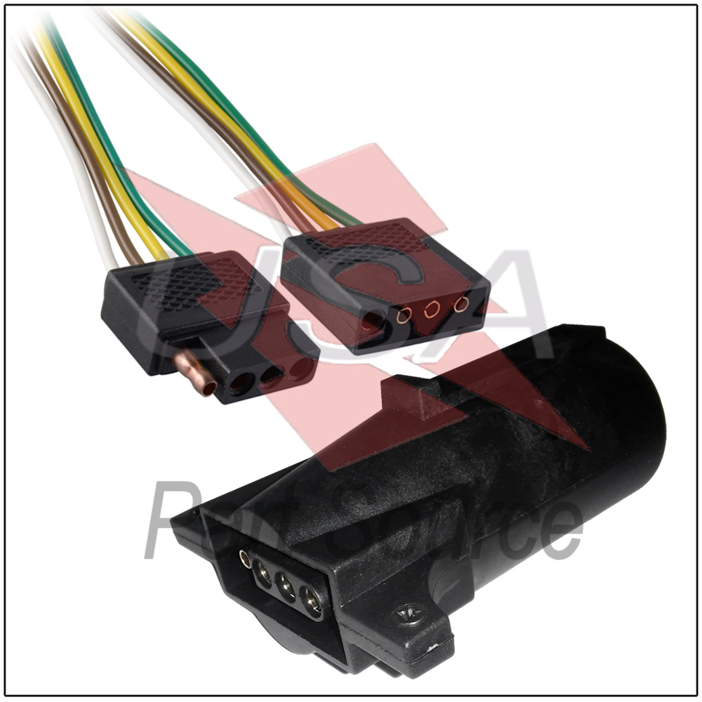 hight resolution of details about 2ft trailer light wiring harness 4 pin flat plug wire connector 24 with adapter