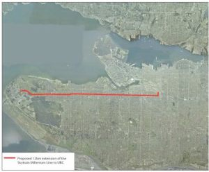 Image showing single Broadway subway line, serving a small area of Vancouver
