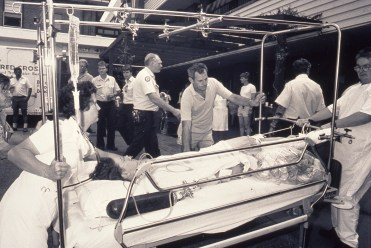 Earthquake casualty arriving at the Mater Hospital