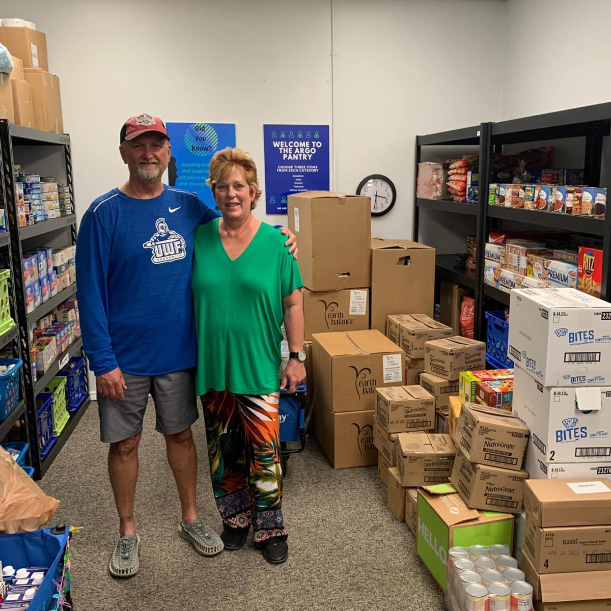 Stephen & Mona Wright standing in food pantry
