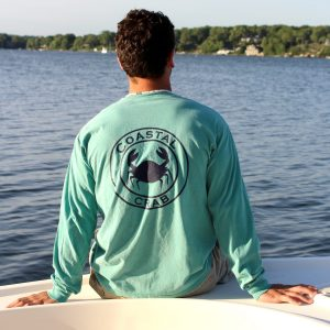 Adult Long Sleeve T-Shirt Sea foam Green with Navy