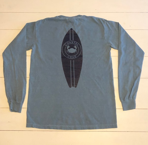 Adult Long Sleeve T-Shirt Ice Blue with Navy Surfboard