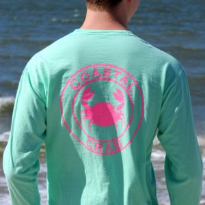 Adult Long Sleeve T-Shirt Mint with Pink