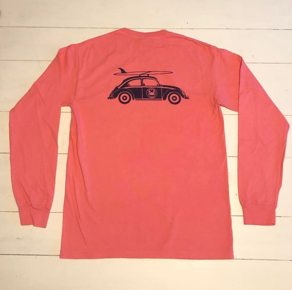Adult Long Sleeve T-Shirt Peony with Navy Bug