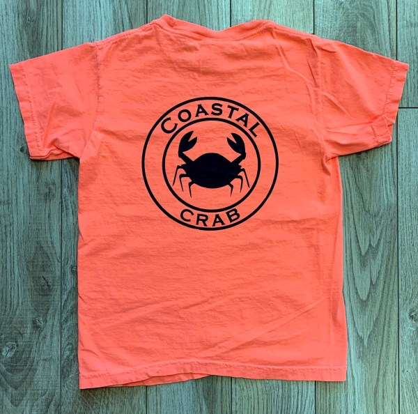 Youth T-Shirt Neon Orange with Navy Imprint