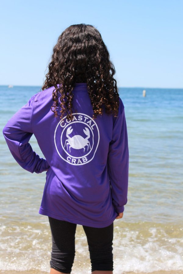 Youth Long Sleeve Performance T-Shirt Purple with White Imprint