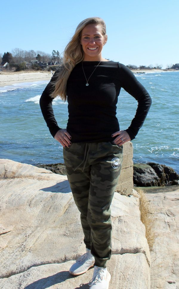 Adult Green Camo Joggers with white imprint