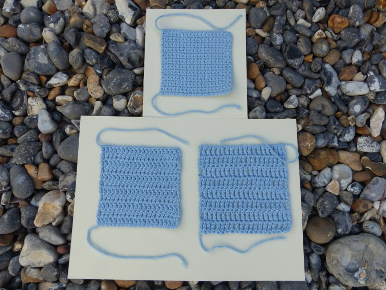 A square of double crochet, a square of trebles and a square of double trebles...