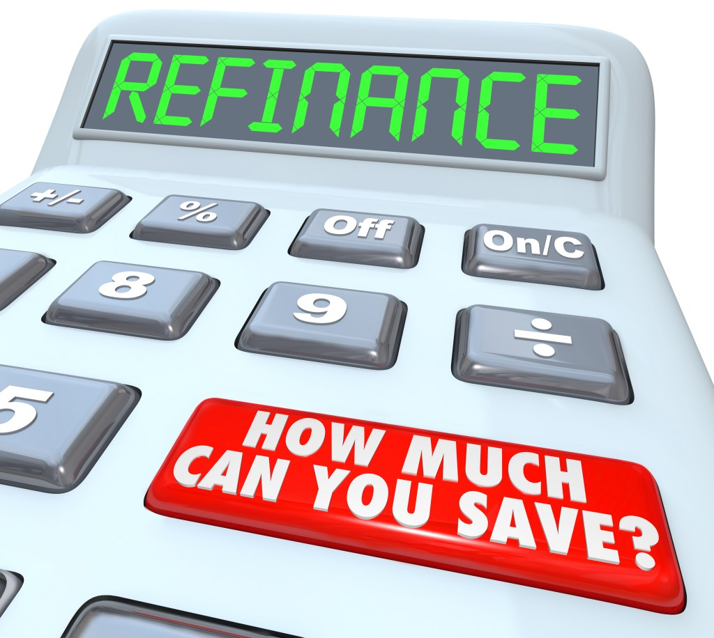 The word Refinance on the display of a digital calculator with a