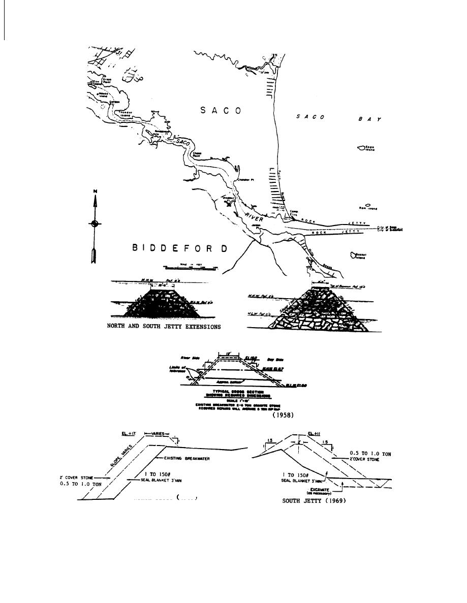 Figure 12. Plan view and typical sections of Saco River