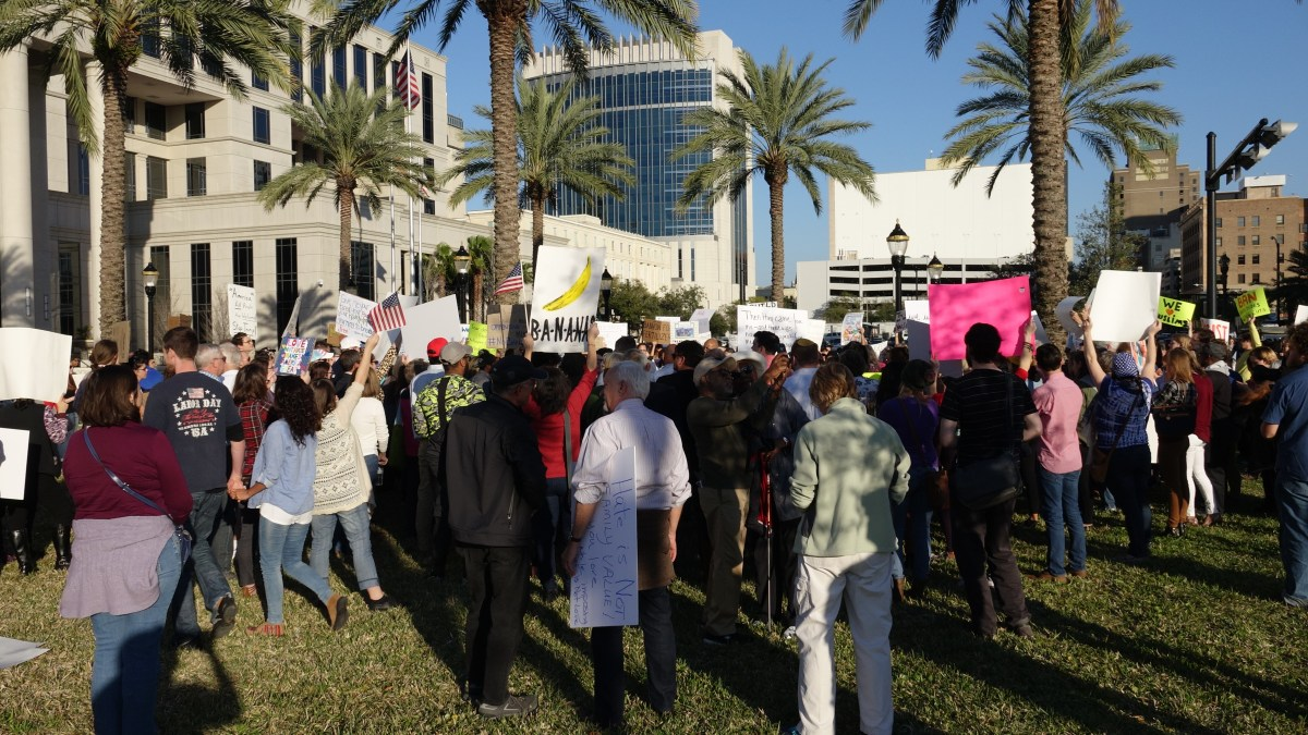 The crowd at a protest in Jacksonville, FL
