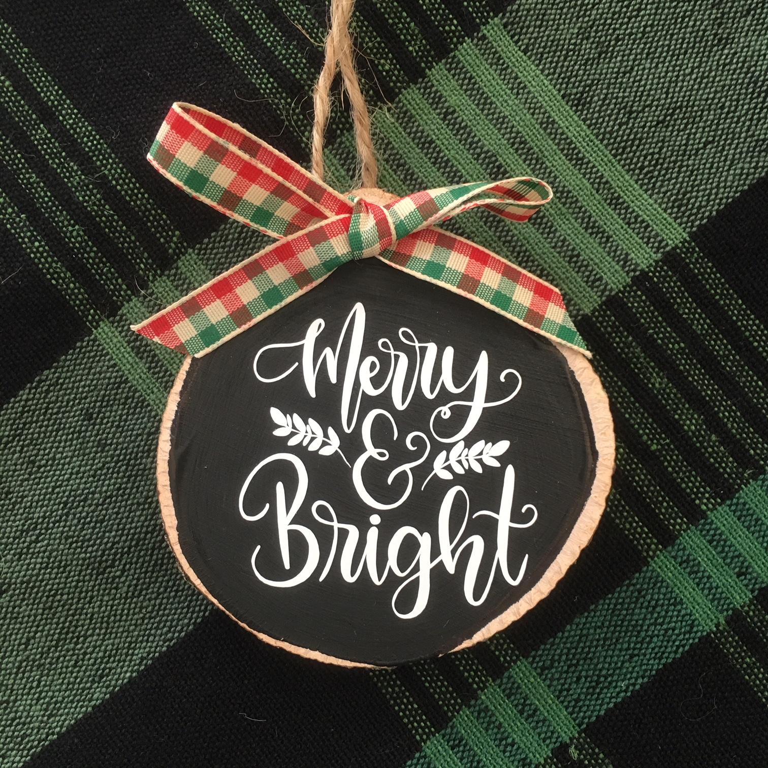 Wood Slice Ornament + Cricut Ornament Exchange