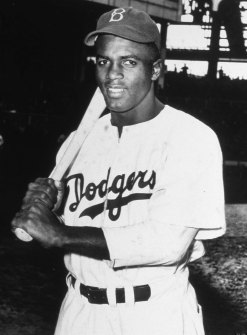 BROOKLYN - 1948. Jackie Robinson poses for a batting portrait during the 1948 season in Brroklyn. (Photo by Mark Rucker/Transcendental Graphics, Getty Images)