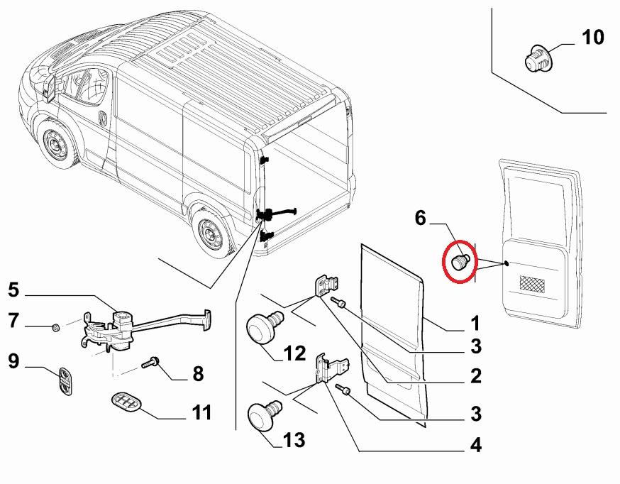 Fiat Ducato Peugeot Boxer Citroen Relay Rear Inner Door