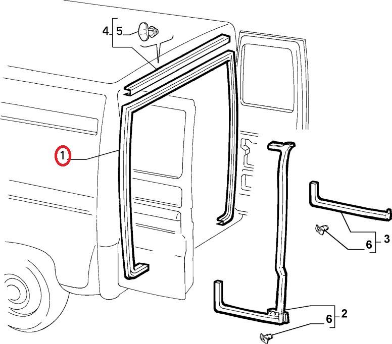 Fiat Ducato Peugeot Boxer Citroen Relay Rear Door Seal 1